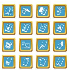 Repair phones fix icons set sapphirine square vector