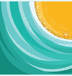 Sand beach and sea waves background vector image