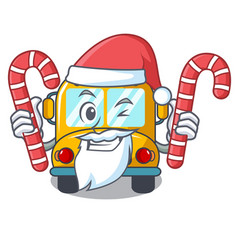 santa with candy school bus mascot cartoon vector image
