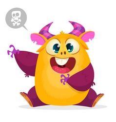 scared cartoon pink monster waving cute monster vector image