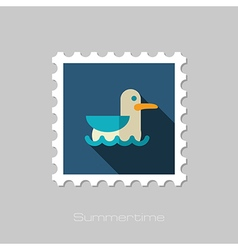 Seagull flat stamp Summer Vacation vector image