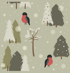seamless background with forest and bullfinch vector image