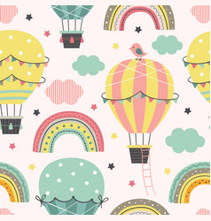 seamless pattern with hot air balloon vector image