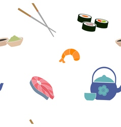 Seamless pattern with sushi icons vector image