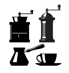 set icons coffee accessories vector image