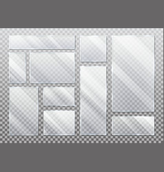 Set isolated glass plate on transparent vector