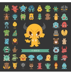 set monster characters poses eps10 vector image