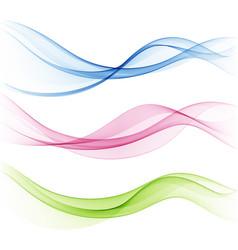 set transparent wavesabstract colour vector image