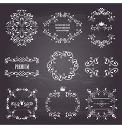 set white retro styled ornamental frames vector image