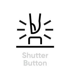 shutter button icon editable outline vector image