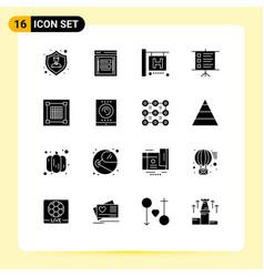 Solid glyph pack 16 universal symbols vector