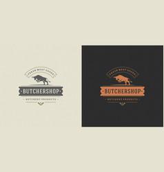 Steak house logo jumping bull vector