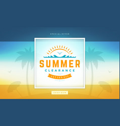 Summer sale banner online shopping on beach vector