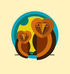 two owls logo sitting on a branch of the flat icon vector image