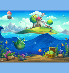 undersea world with mill on island vector image