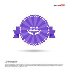 User in hand icon - purple ribbon banner vector