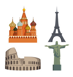 worlds attractions kremlin eiffel tower italian vector image