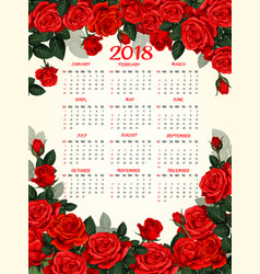 Year calendar template with red rose flower frame vector