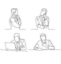businessman thinking linear design continuous vector image vector image