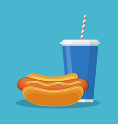 cup with soda and hotdog vector image