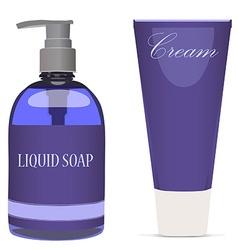 Purple liquid soap bottle and cream tube vector image