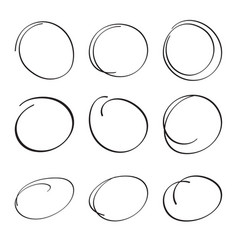 set hand drawn ovals vector image