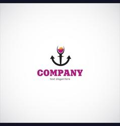 wine sea company logo vector image