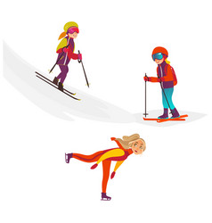 cartoon kids doing sports set vector image vector image