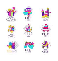 collection of kids logo templates set kids cafe vector image