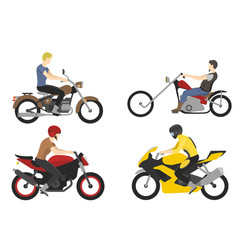 Four motorcyclist with accessories set helmets vector