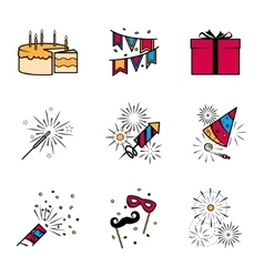 Party celebration fireworks icons set vector image