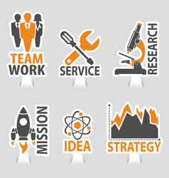set business sticker icons vector image