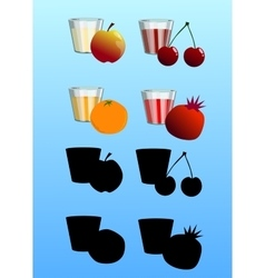 Set of fresh juices with fruits vector image vector image