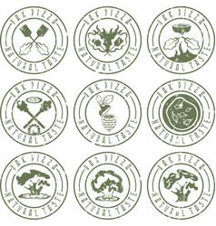 vintage grunge labels set concept of oak pizza vector image vector image