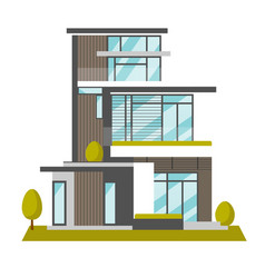 big modern house cartoon vector image vector image