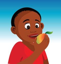 boy eating fruit vector image vector image