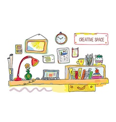Creative place for work banner - vector image