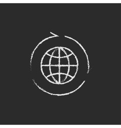 Globe with arrows icon drawn in chalk vector image