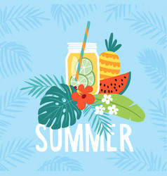 hand drawn summer greeting card invitation with vector image vector image