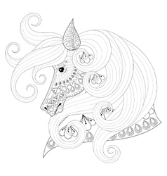 Hand drawn zentangle Ornamental Horse for adult vector image vector image