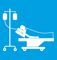 patient in bed on a drip icon white vector image vector image