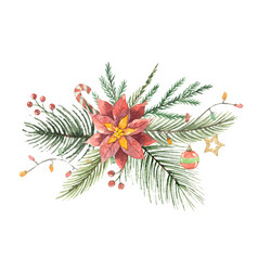 watercolor christmas bouquet with flower vector image vector image
