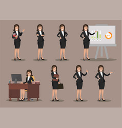 business woman in various poses flat design vector image vector image