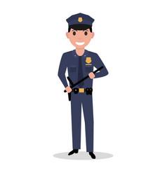 cartoon policeman in uniform police baton vector image vector image