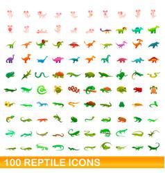 100 reptile icons set cartoon style vector