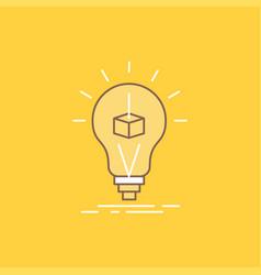 3d cube idea bulb printing box flat line filled vector