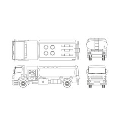 Air fuel truck in outline style vector