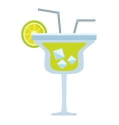 alcoholic cocktail popular bar lemon straw vector image