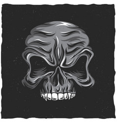 angry skull poster vector image