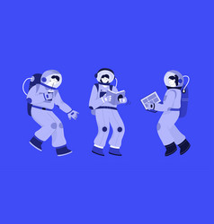 Astronauts at space set isolated persons vector